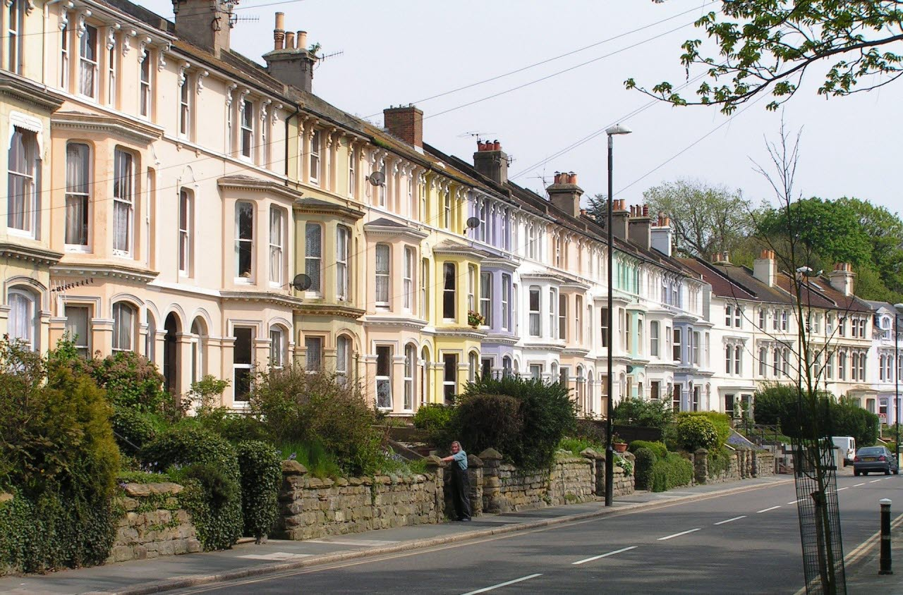 Row of colourful town houses