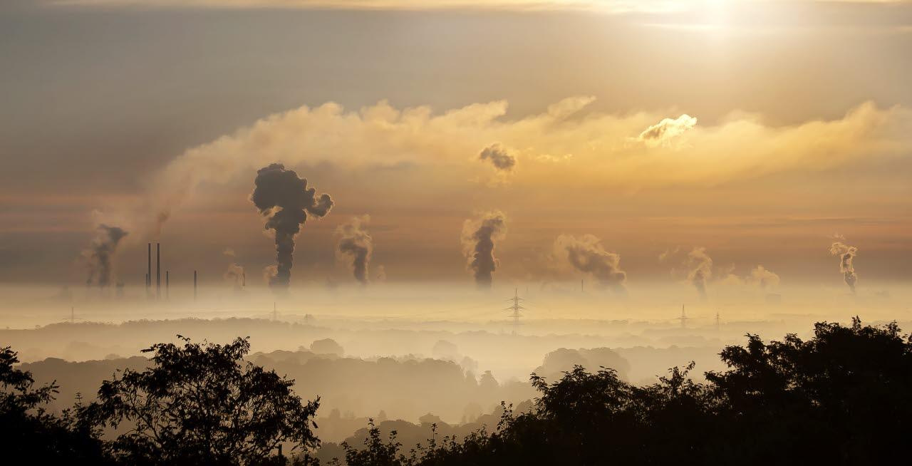 clouds, fog, sunset, pollution. SB, RICS, 240118