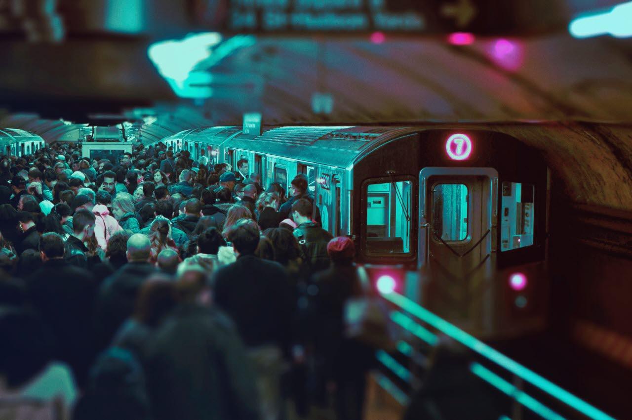 Crowded train platform