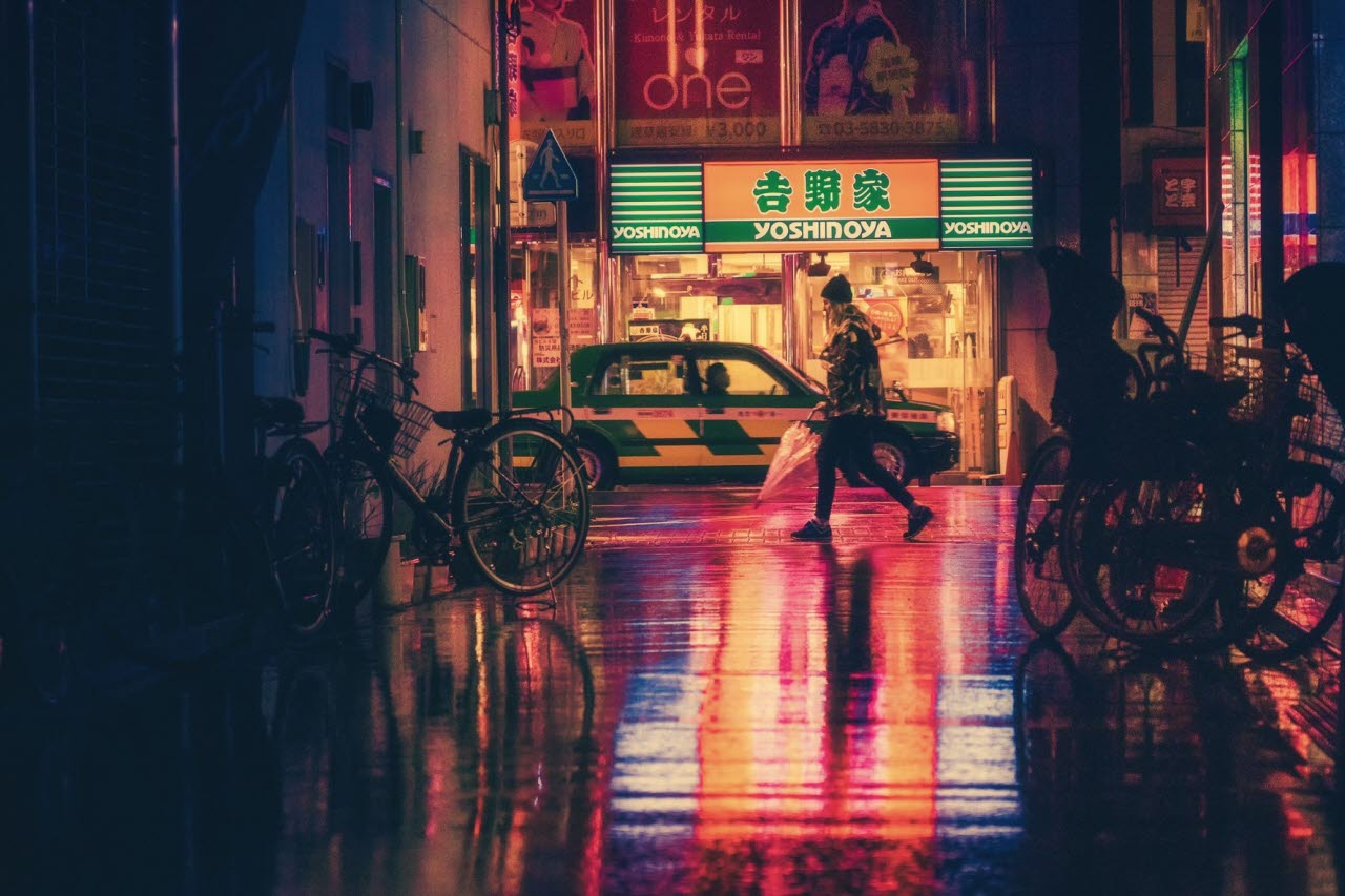 Asian street at night