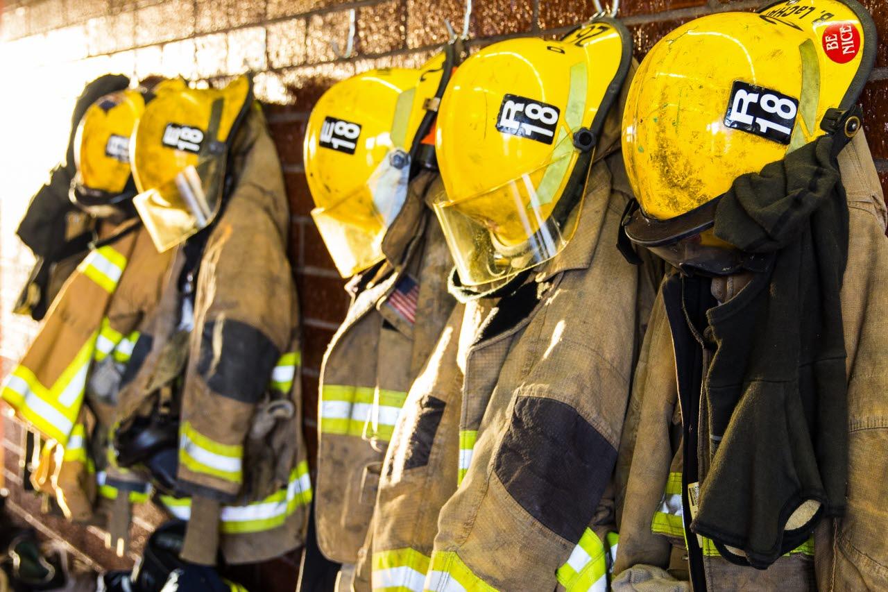 Fire brigade uniform hanging up