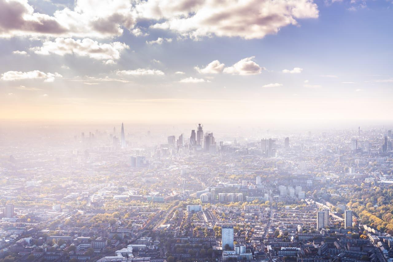 London skyline with smog pollution