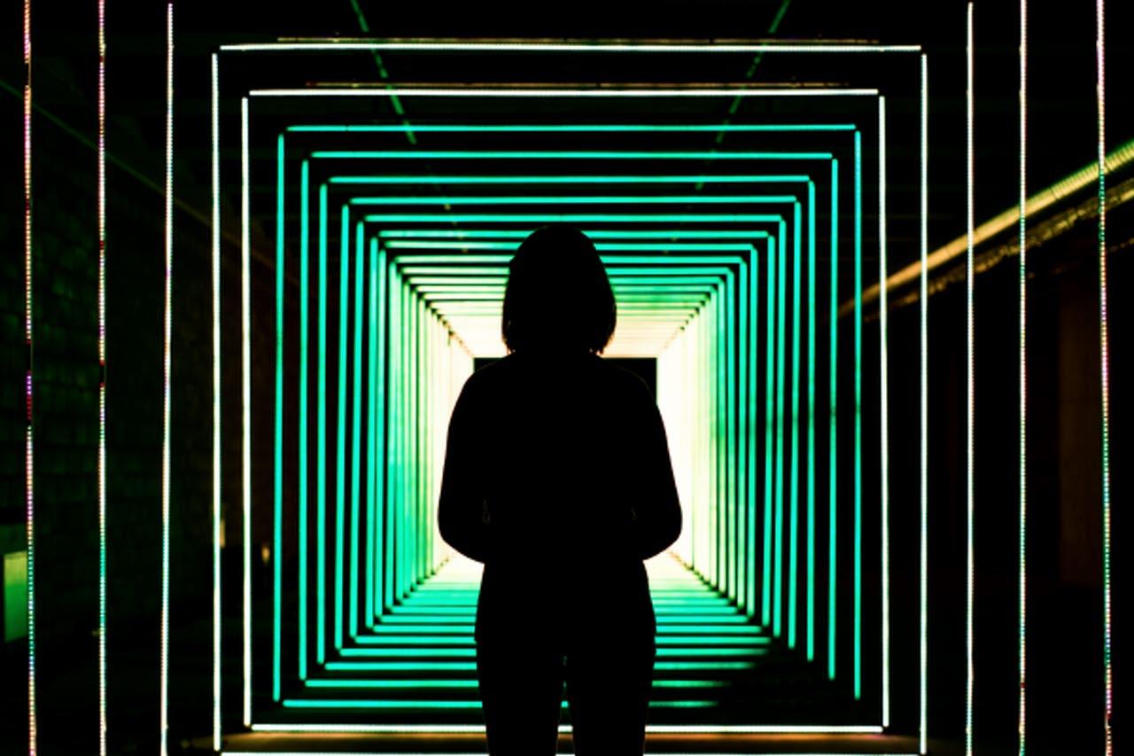Woman with digital walkway