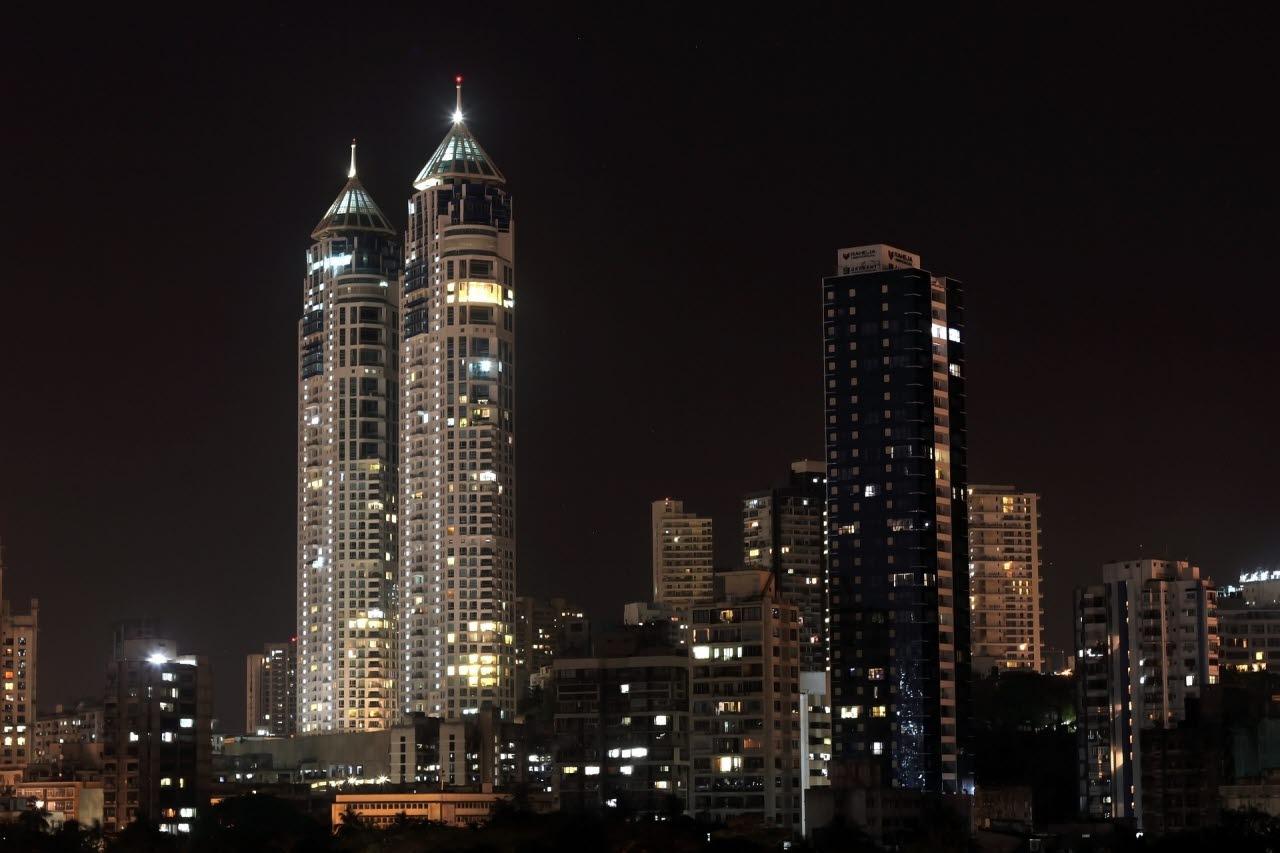 Picture of mumbai skyscrapers at night
