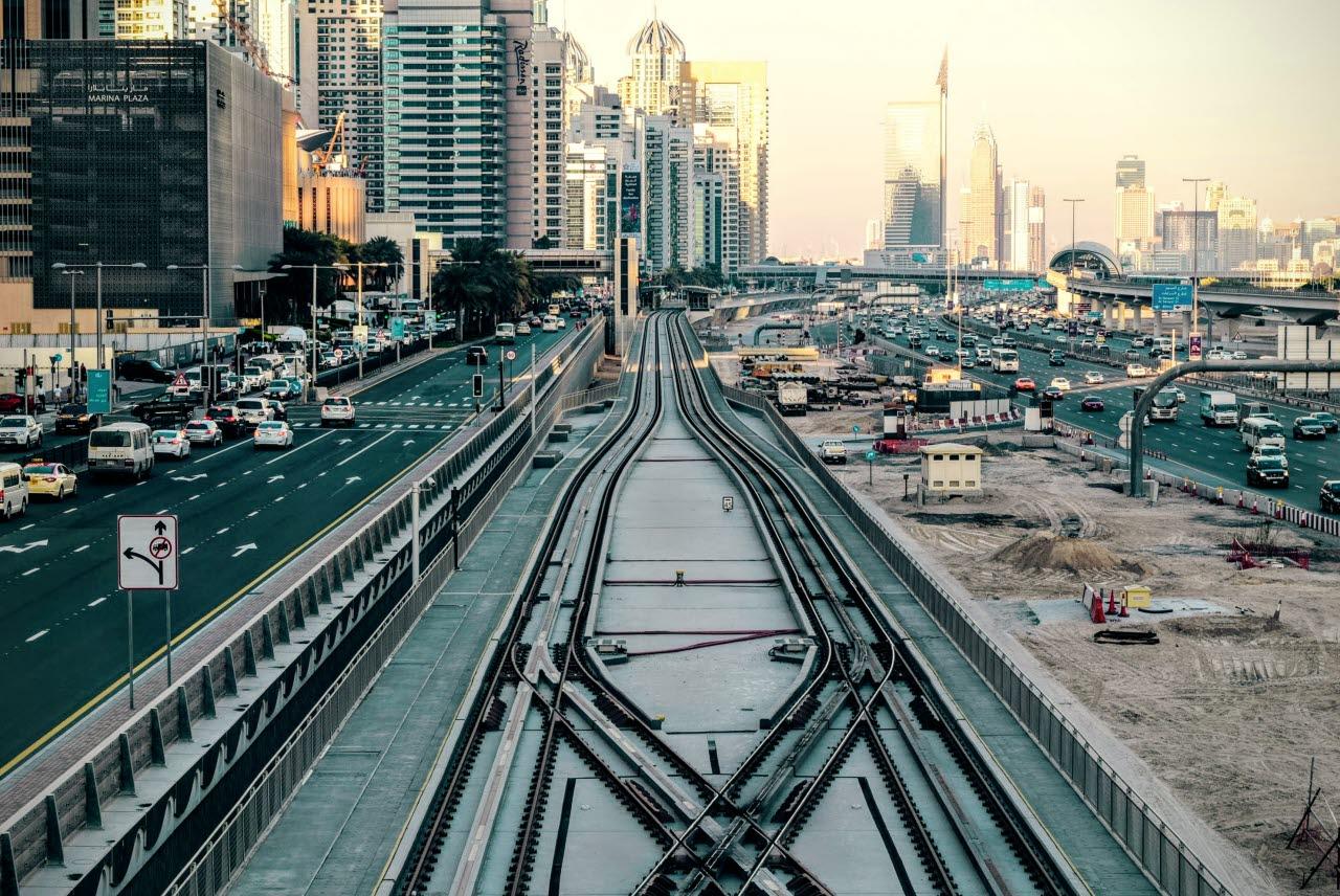 Dubai street, Metro, UAE