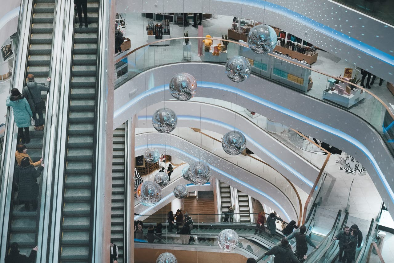 View from above of a shopping centre with escalators