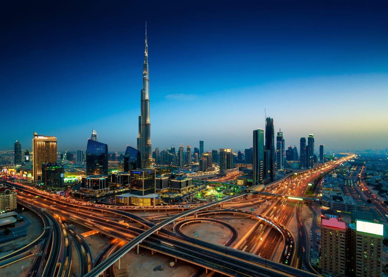 Dubai in the evening