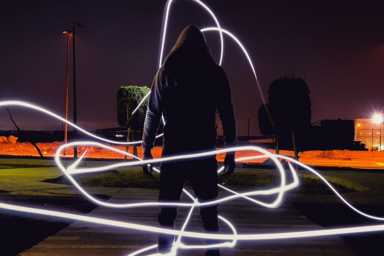 Man with neon lights