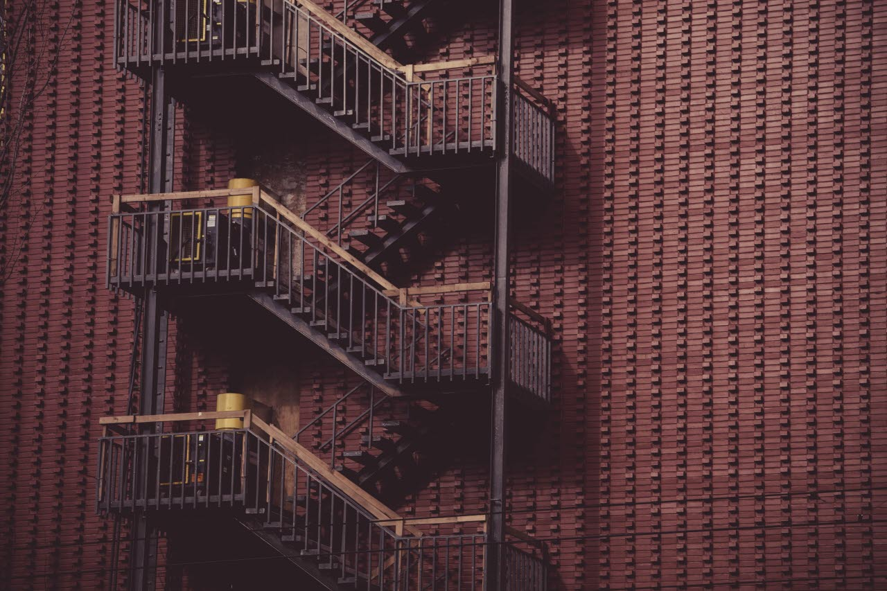 Building with fire exit ladders