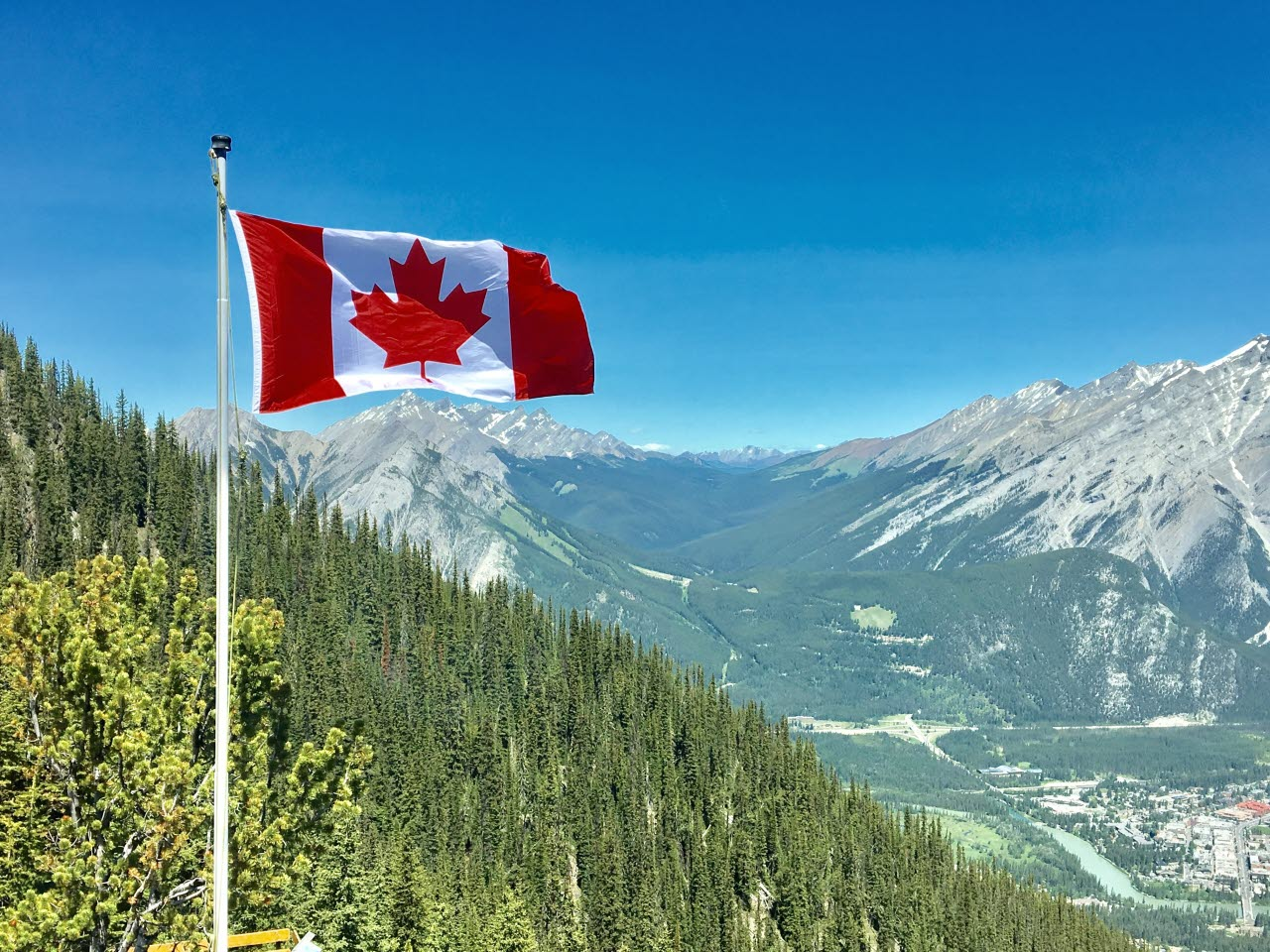 Canada flag with mountain view