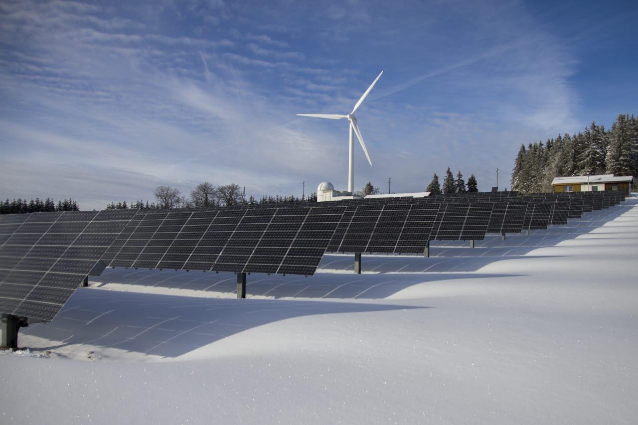 Solar panel field in snow