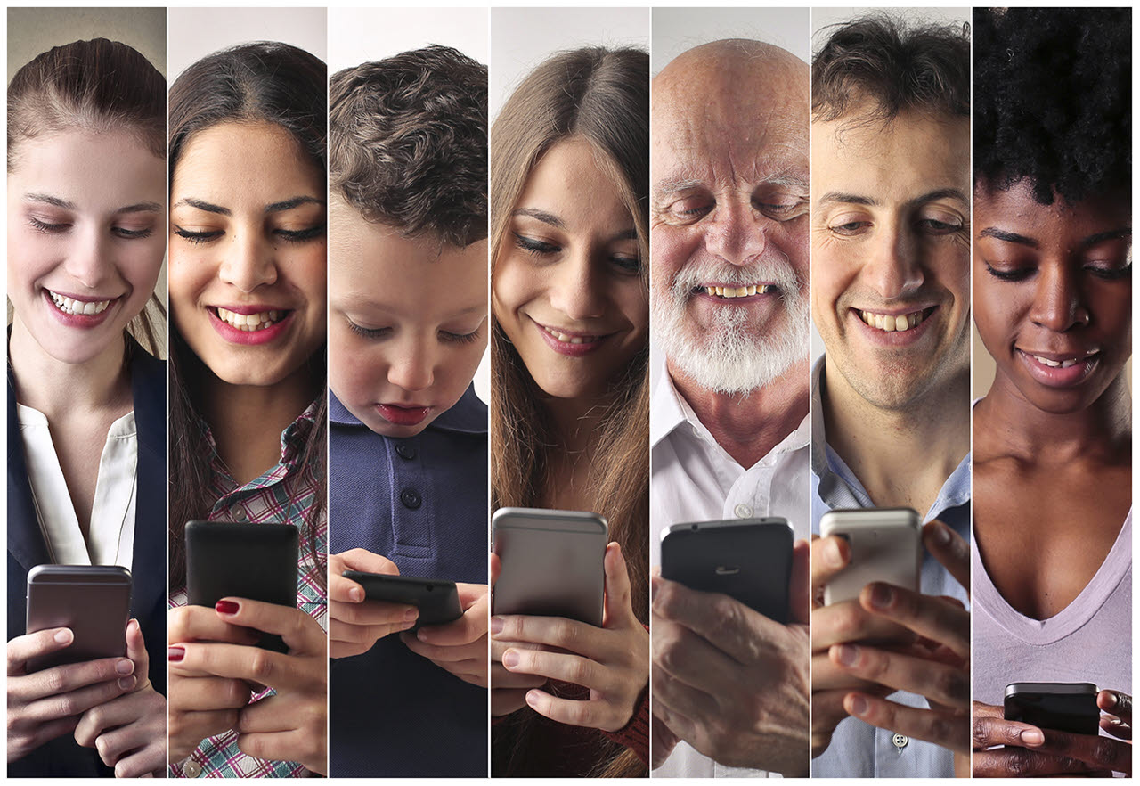 Collage of people on their smartphones
