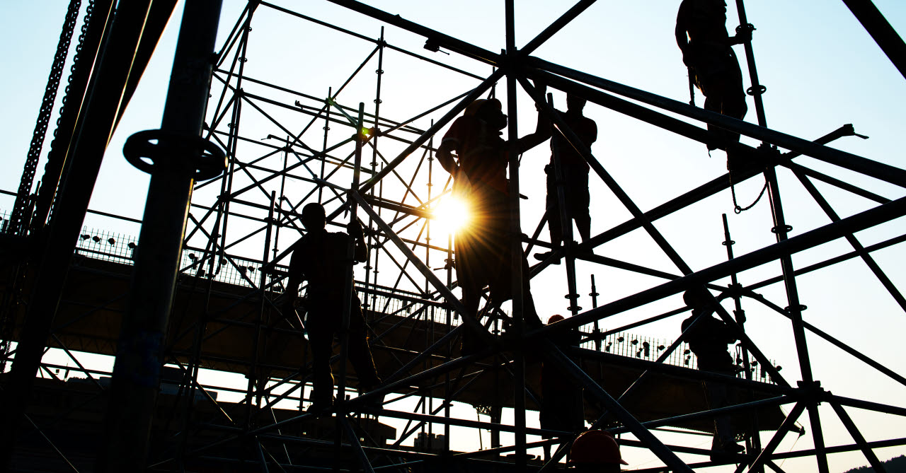 construction workers, scaffolding, construction site,230118, SB