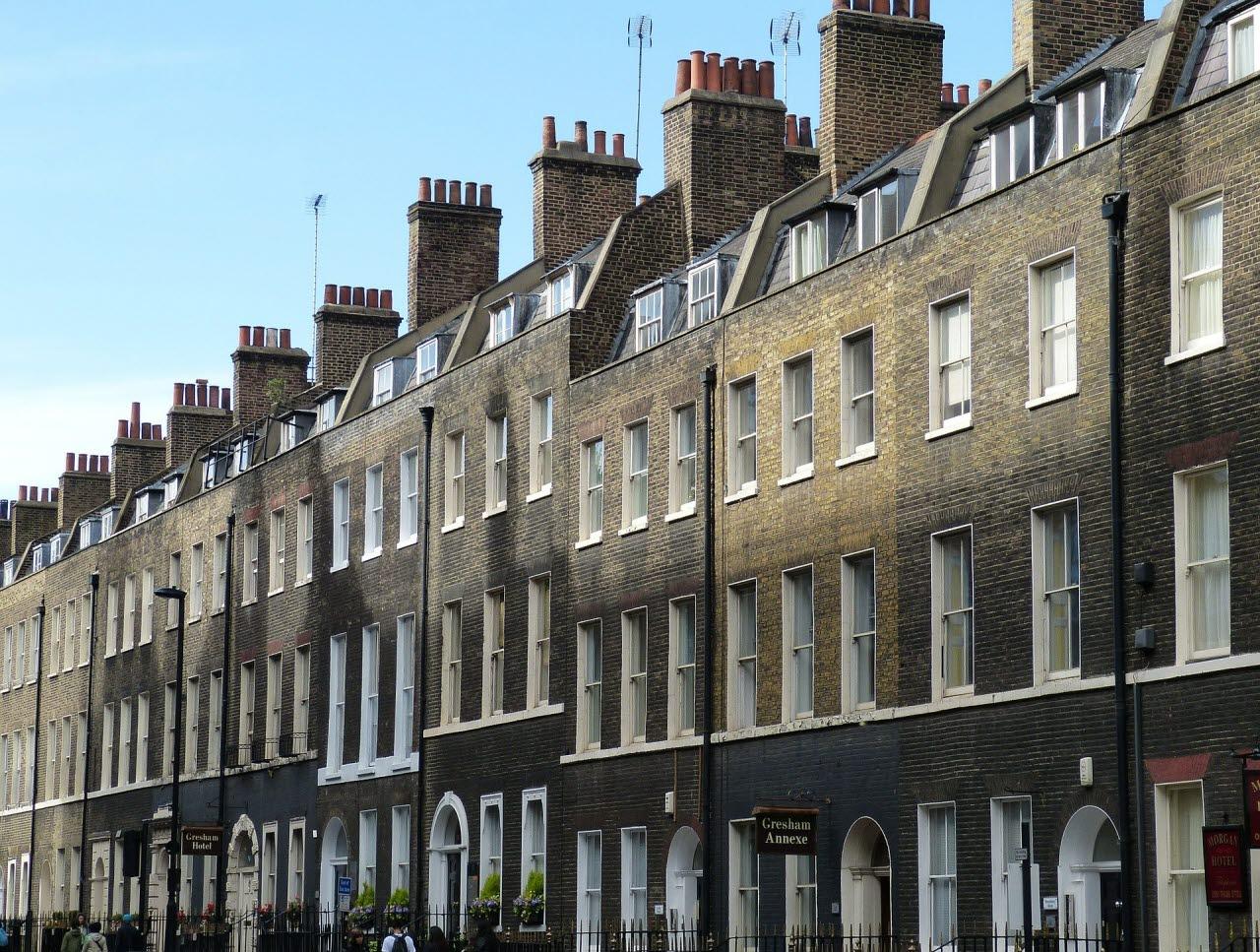 Row of houses in London, UK