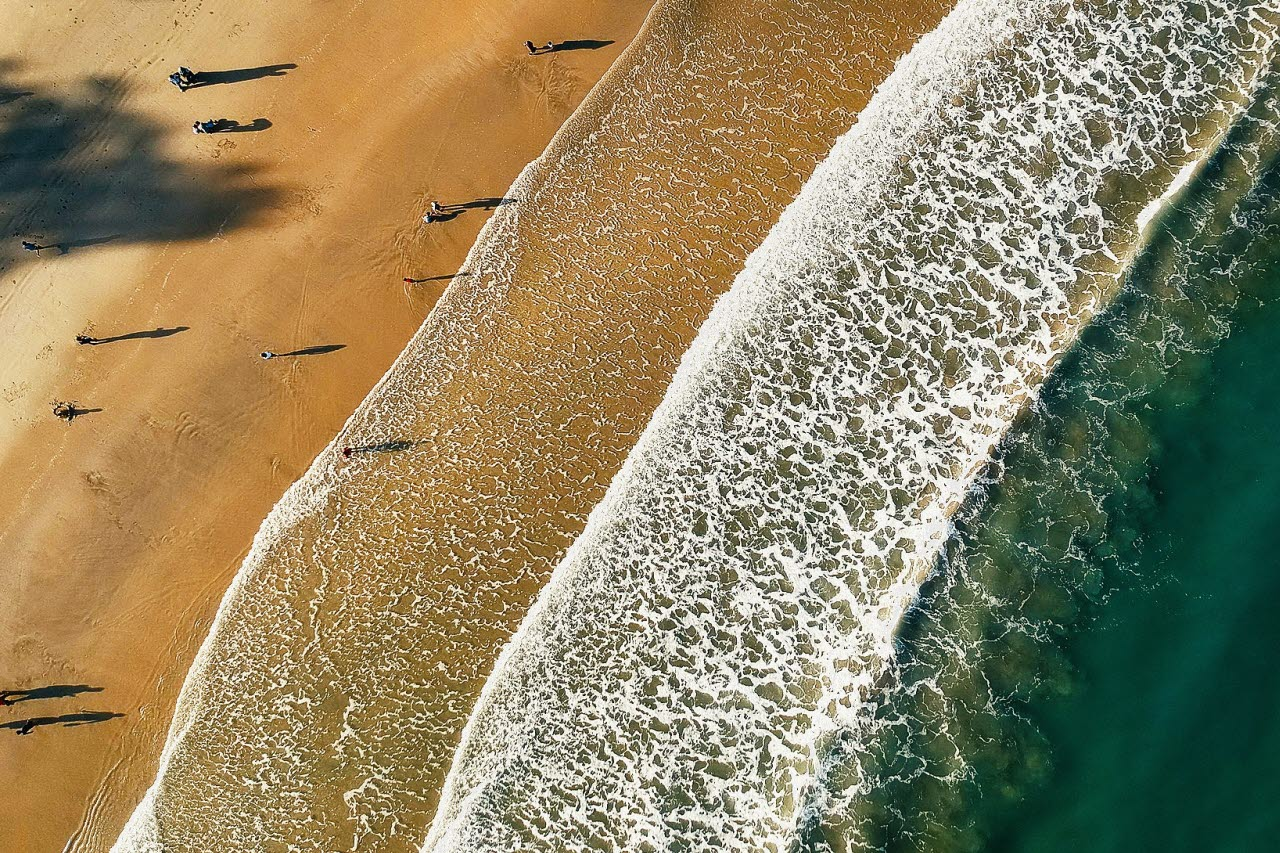 Beach and sea from above