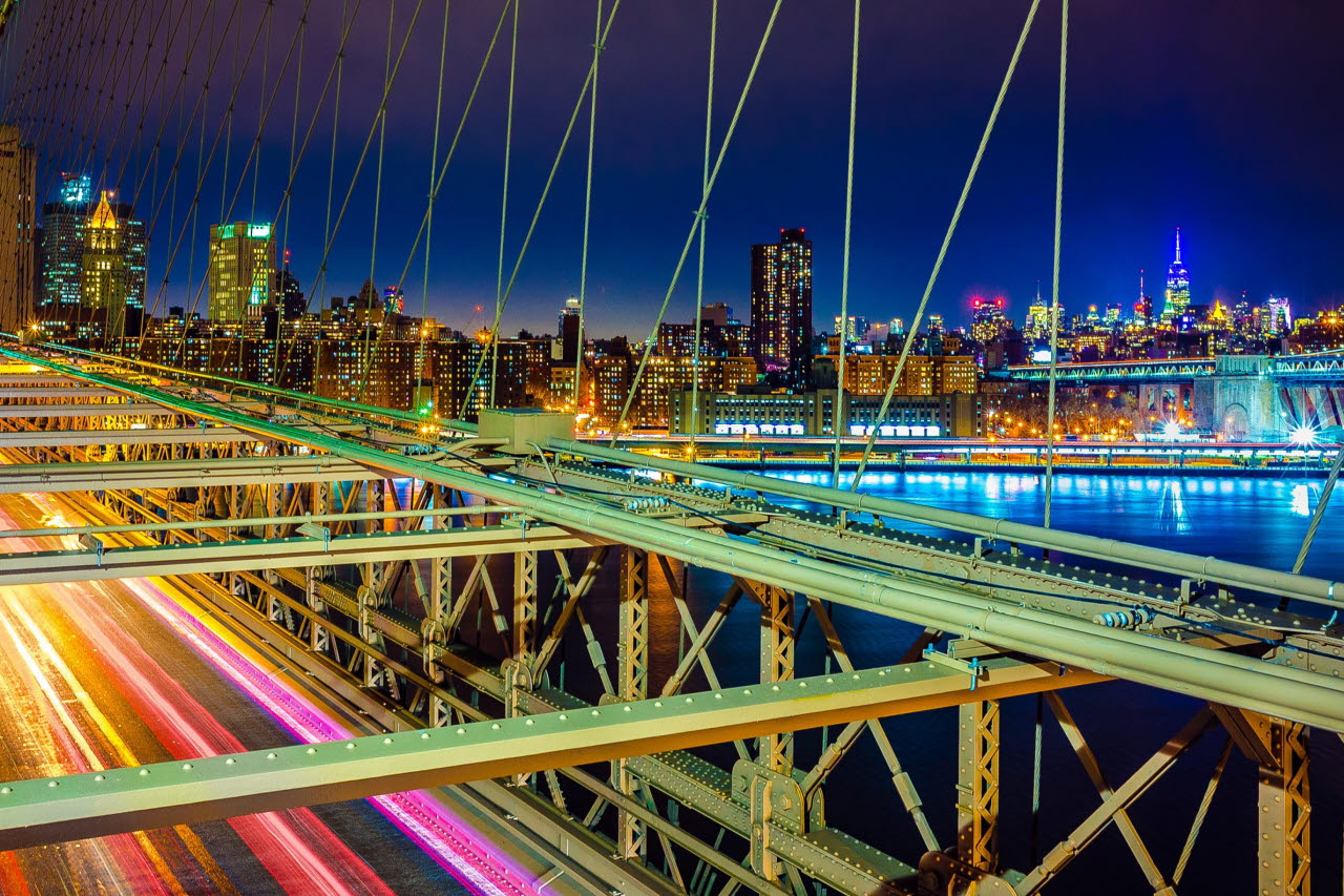 Road bridge illuminated
