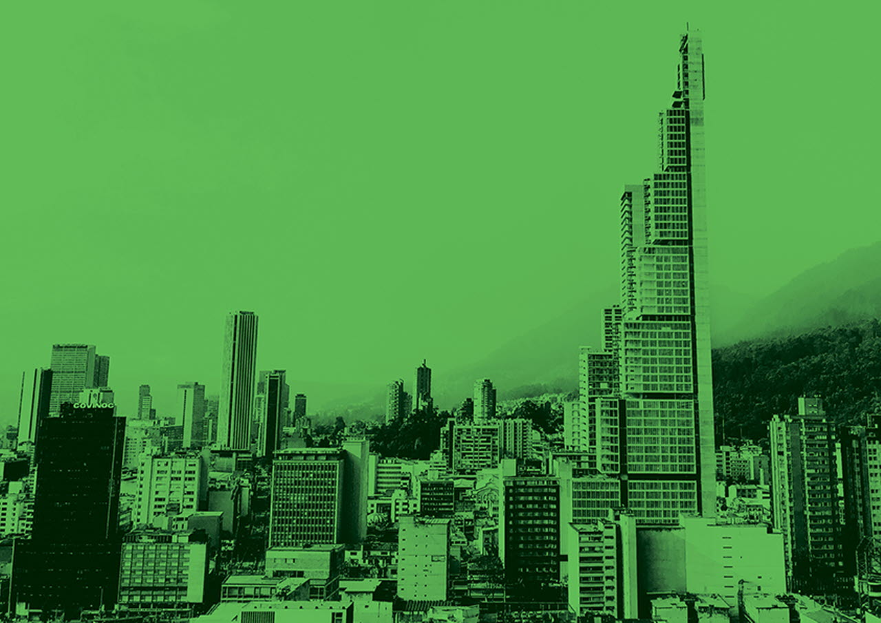 City view with green hue