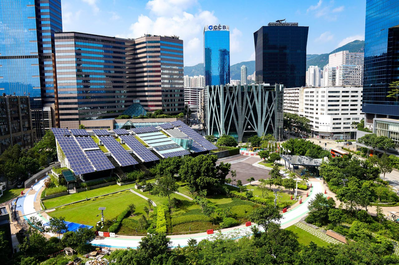 solar panels in a green city