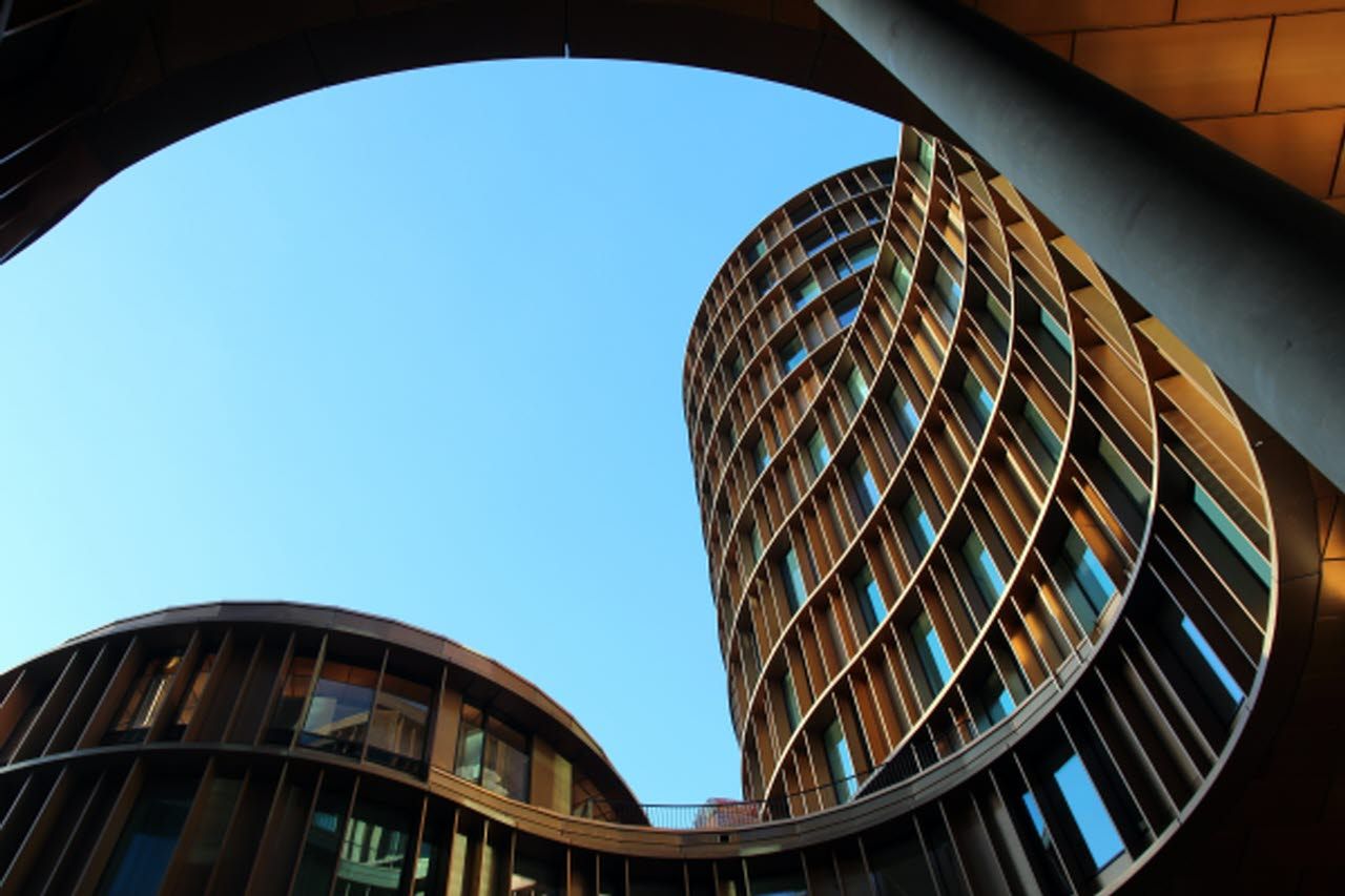 Curved modern building