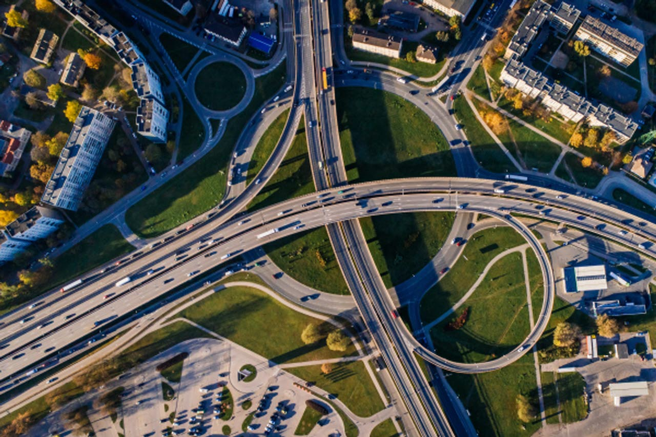 Roads aerial view