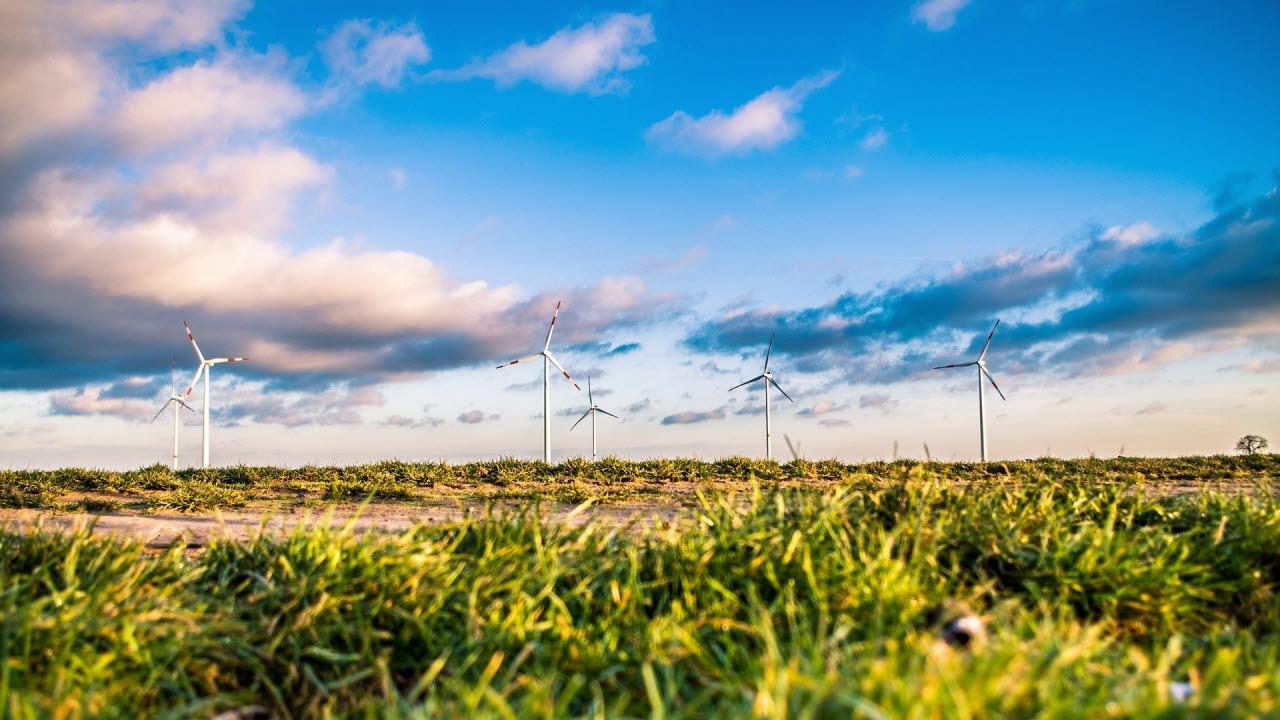 Wind farm with blue sky background
