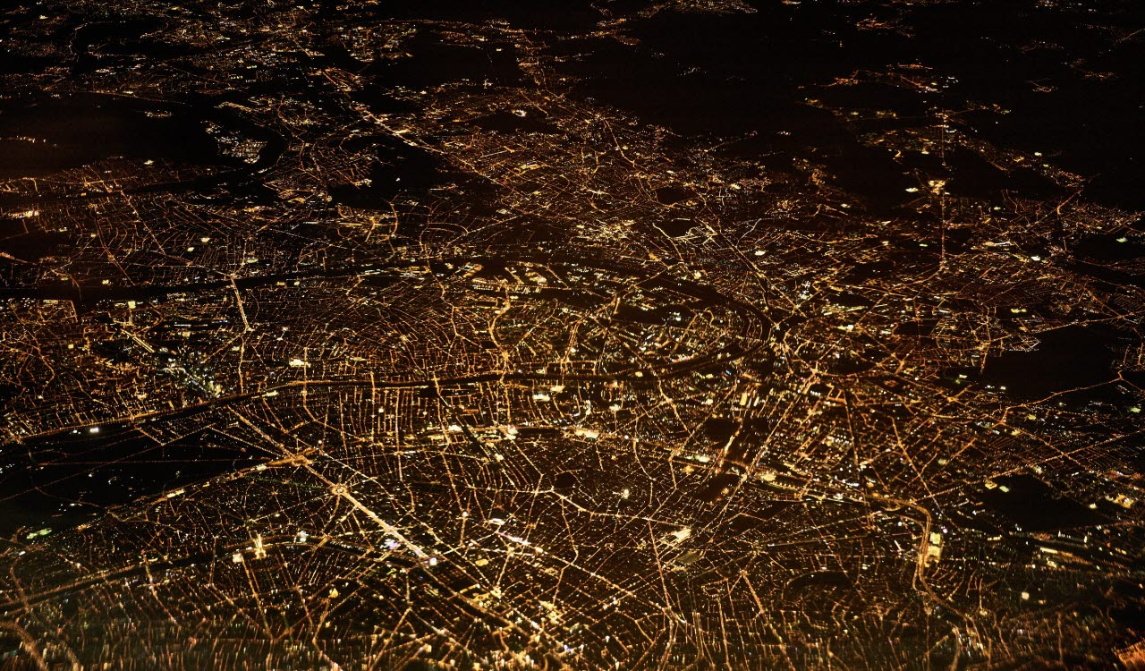 Paris at night from the sky