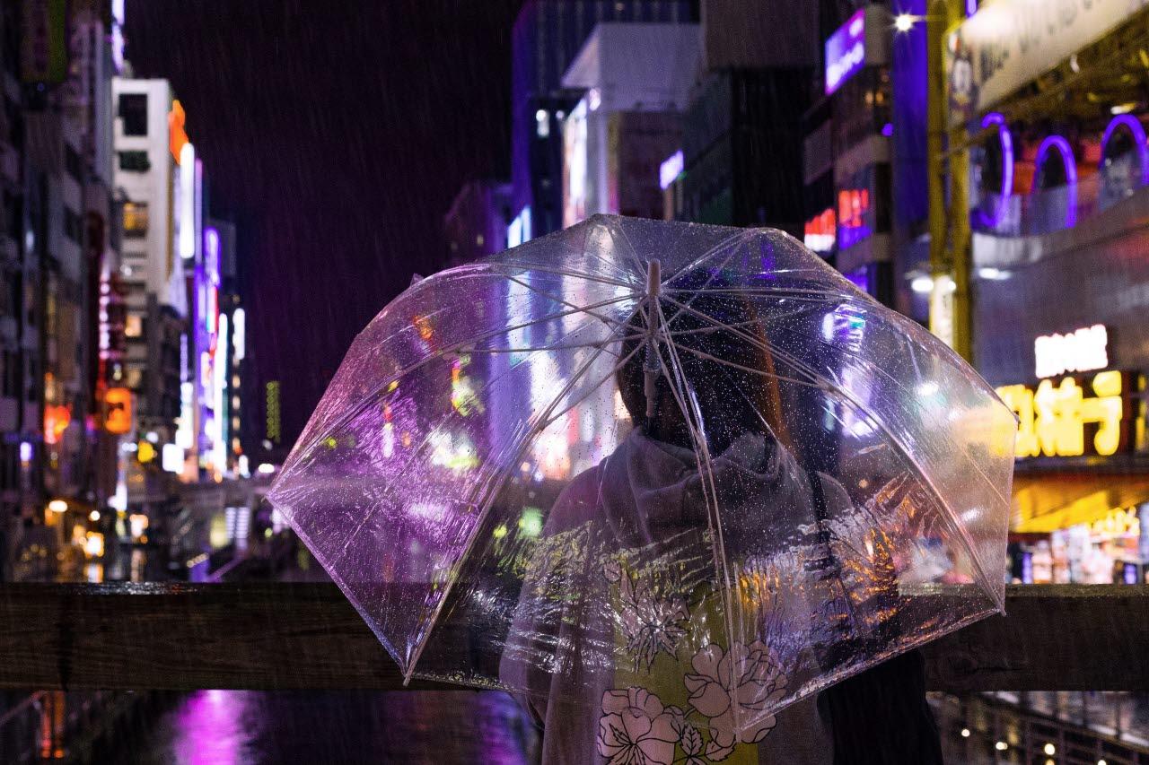 City woman with umbrella