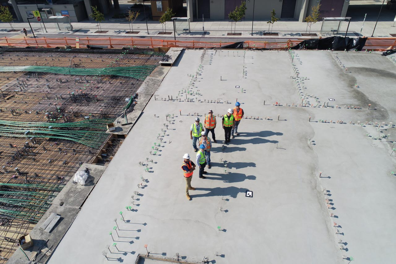 Constrction workers with new concrete